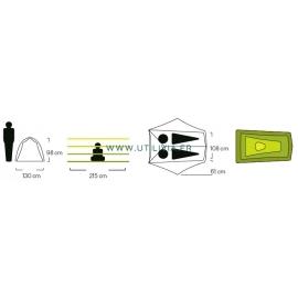 HORNET 2 places : Tente ultra légère - Marque NEMO - Dimensions